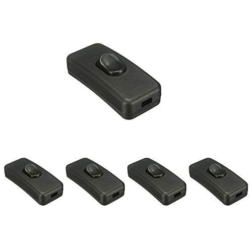 partstock 5PCS Table Lamp Switch Bedroom Boat Halfway Rocker On/Off Momentary Desk Light Cord Cable Switch Inline Switches Black ()