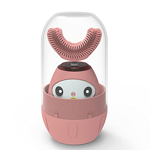 CATLION Kids Electric Toothbrush,Children's Ultrasonic Toothbrushes,U Type Sonic Whole Mouth Toothbrush,360 Whitening and Cleaning Teeth,Ipx8 Waterproof,4 Gear Mode,Voice Broadcast (Pink, 3-7 Years)