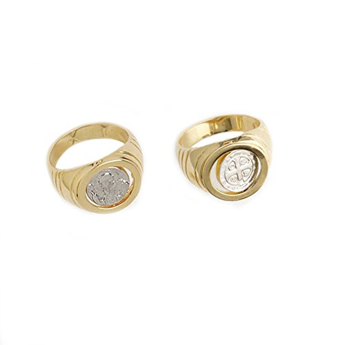 My Jewelry Spot St Benedict Seal Round Ring 14K Yellow Gold Filled Silver Enamel Rotary (5)