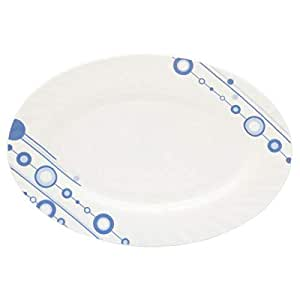 Tendance's Opal Glassware 14 inch Oval Plate, White and Blue Polka Dots HYP140/2-0950