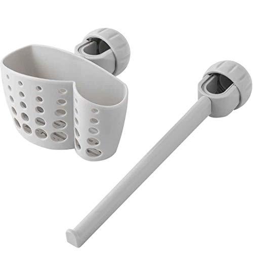 (BCDshop 2PCS Kitchen Sink Caddy Organizer Faucet Sponge Soap Cloth Drain Rack Storage Holder Shelf (Gray))