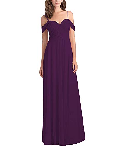 - Women's Off The Shoulder A Line Chiffon Long Bridesmaid Dress Pleated Wedding Evening Party Dress Plum Size 2