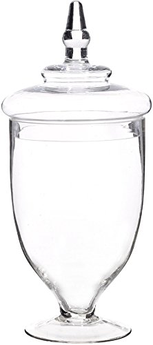 Elegant Clear Glass Apothecary Jar with Lid - High Glass Canister - Home Decor & Party Centerpiece … for $<!--$18.98-->