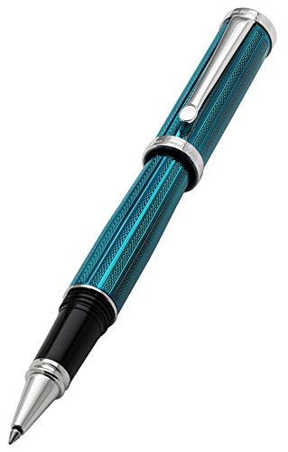 Xezo Architect Fine Executive Rollerball Pen Diamond-Cut Weighty Barrel Numbered Platinum Plated Limited Edition, Azure Blue (Architect Azure Blue R) (Best Pens For Architects)
