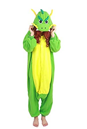 "iPerry Cosplay Costume Pajamas Anime Animal Party Masquerade Costume Jumpsuit Outfit One-piece Green Dragon S 150-158cm(4'92""-5'18"")"