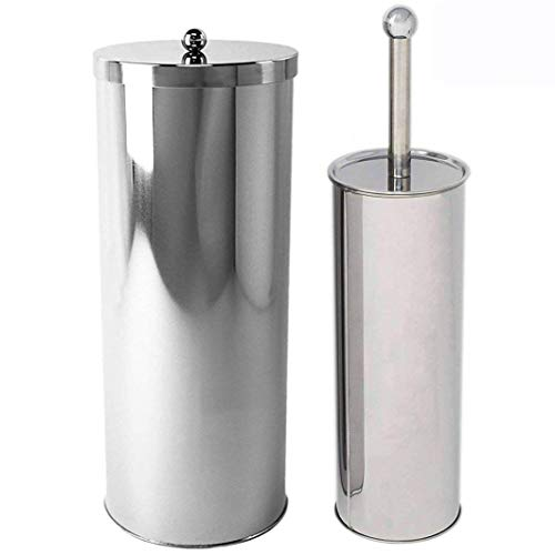 Stainless Steel Toilet Paper Canister Holder For Bathroom Storage (1, Toilet Paper Canister&Toilet Brush Set) ()