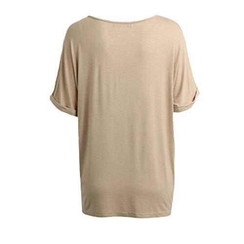 Eleganti Alta di Moda Casual Estivi Manica Neck Magliette Corta Donna qualit Baggy V Top Grazioso Monocromo agE6qn