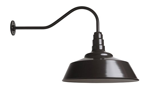 The Standard | 20 Inch Powder Coated Steel Dome | 23 Inch Gooseneck Barn Light (Dark ()