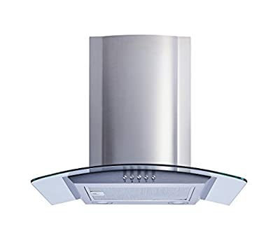 "Winflo 36"" Convertible Stainless Steel/Glass Wall Mount Range Hood with Aluminum Mesh filter and Push Button 3 Speed Control"