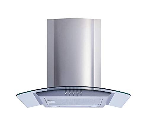 "Winflo New 30"" Convertible Stainless Steel/Tempered Glass Wall Mount Range Hood with Aluminum Mesh filter, Ultra bright LED lights and Push Button 3 Speed Control"