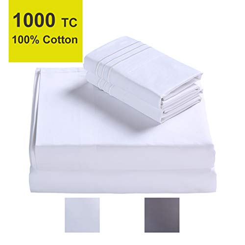 (EMONIA True Luxury 100% Egyptian Cotton High 1000 Thread Count Queen Size Sheets Set 4 Pieces Bed Sheet Sateen Weave 12