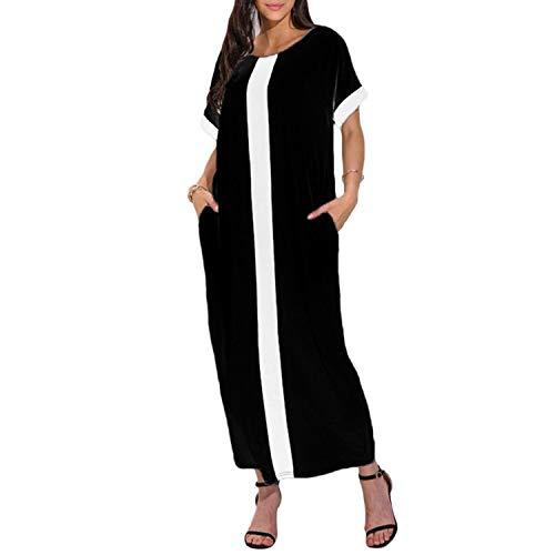 Summer Casual Dress Women Contrast Panel Plus Size Dress O Neck Short Sleeve Casual Loose Maxi Long Dress -