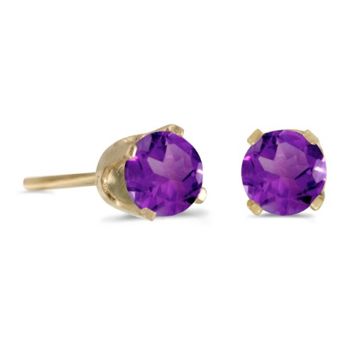 14k Yellow Gold 4 mm Round Amethyst Stud ()