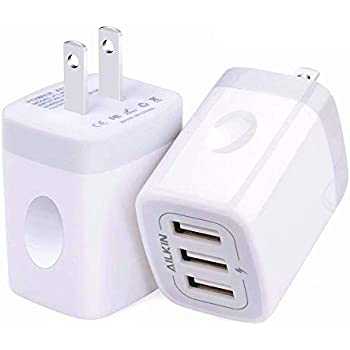 Amazon.com: Wall Charger, Amoner 2Pack 15W 3-Port USB ...