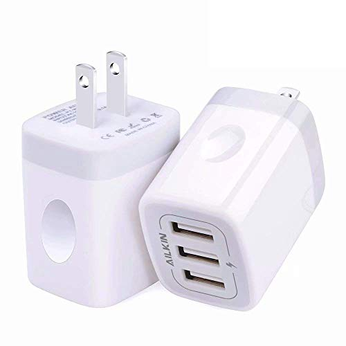 USB Wall Charger(2Pack), Ailkin 3.1A/3-Port Quick Charging Adapter, USB Plug Cube Box Block Base Replacement for iPhone X/8/7, iPad, Samsung, Vivo, LG, Google Nexus and More USB Charging Phone
