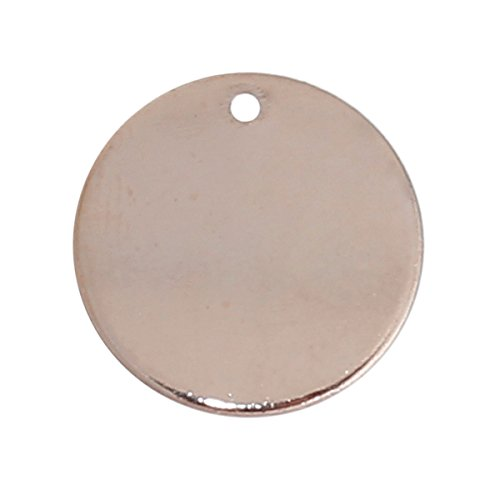 Rose Gold Plated Circle - 20 Rose Gold Plated Copper Round Circle Stamping Blank Tags for Metal Stamping 15mm or 5/8 Inch Diameter