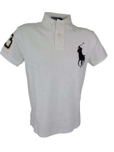 Polo Ralph Lauren Men's Big Pony Polo Shirt Custom Fit (White, L)