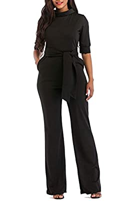 KISSMODA Womens Elegant Wide Leg Work Jumpsuits Long Fitted Romper Pants Half Sleeve with Belt