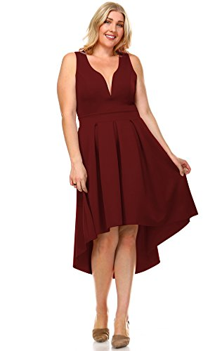 Toddler Red Peasant Dress (Zoozie LA Women's Plus Size Pleated Midi Cocktail Dress with Empire Waist Burgundy 3X)