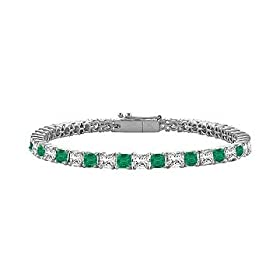 Emerald Diamond Princess Cut Platinum Tennis Bracelet