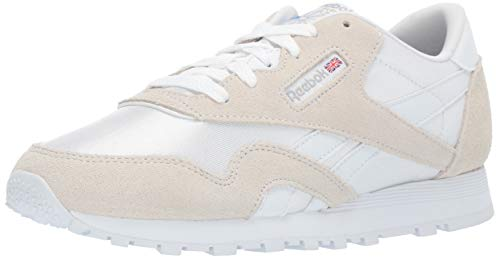 Reebok Unisex Adult's Boys' Classic Nylon Sneaker WHITE/LIGHT GREY 5.5 M US Big Kid
