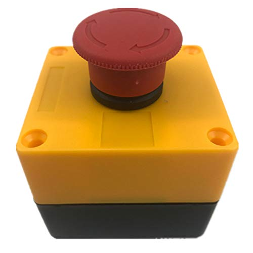 Nxtop Red Sign Mushroom Head Emergency Stop Button Weatherproof Button Switch 600V with Box