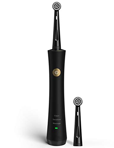 Electric Toothbrush for Adults Power Rechargeable Toothbrush with 2 Round Replacement Heads and 2-min Timer, 3 Modes Dentists Recommended for Oral Care, Waterproof Black 2205