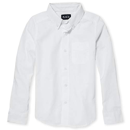 The Children's Place Big Boys' Long Sleeve Uniform Oxford Shirt, White 5063, Medium/7/8 -