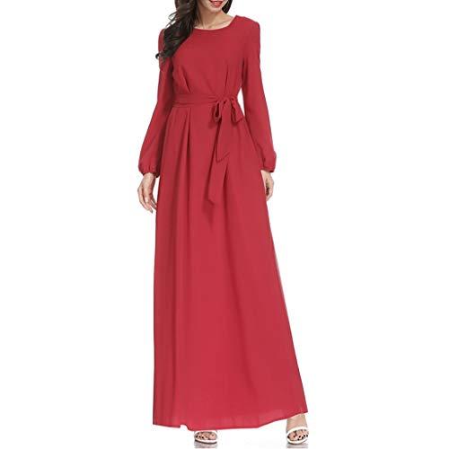 Muslim Maxi Dress Trumpet Sleeve Abaya Long Robe Gowns Tunic -