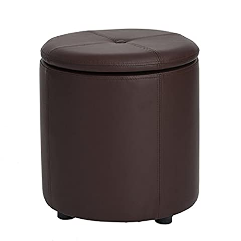 Brown Bonded Leather Round Storage Accent One Button-Tufted Ottoman (Brown Ottoman Round)