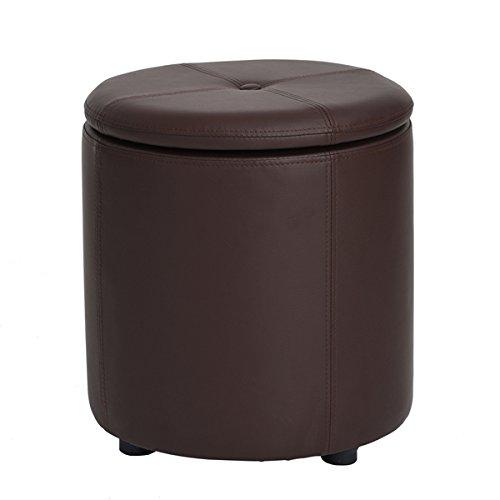 Round Storage - Brown Bonded Leather Round Storage Accent One Button-Tufted Ottoman