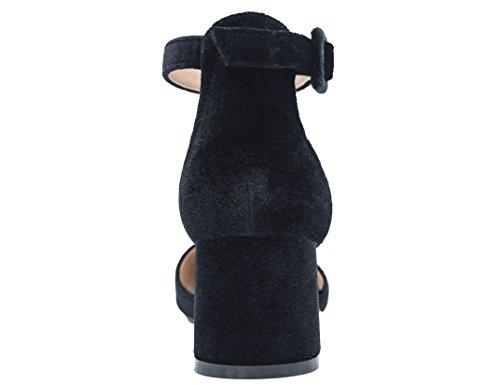 Greatonu femmes Bout Pointu Mid Bloc Talon Cheville lanières cour Chaussures Sandales Black Velvet ljpo0