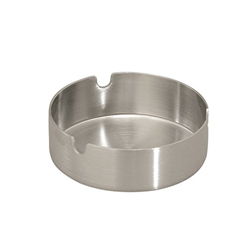 Thirsty Rhino Fuma, Round Stainless Steel Tabletop Cigarette Ashtray, Brushed Silver (Set of ()