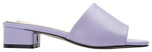 AnnaKastle Womens Colored Mule Slipper Heel Sandal Faux Leather - Lavender 405S34