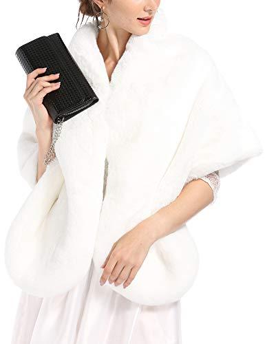 Caracilia Women's Party Faux Fox Fur Long Shawl Cloak Cape Coat chunbai L CAFB5