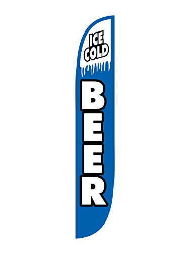 (LookOurWay Ice Cold Beer Feather Flag, 12-Feet )