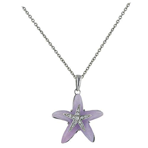 Sterling Silver Purple Jade and Pave Cubic Zirconia Starfish Pendant 16 inches - Purple Jade Pendant
