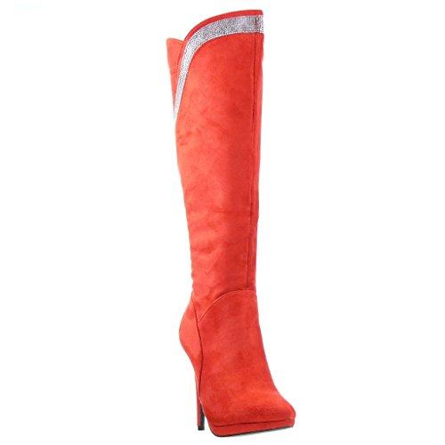 Angkorly - Zapatillas de Moda Botas stiletto zapatillas de plataforma sexy mujer strass Talón Tacón de aguja alto 11.5 CM - Rojo