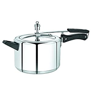 Rampage Aluminium Pressure Cooker with Inner Lid, 5 Litres Capacity (Silver)