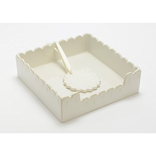 Amadeus White Ceramic Square Napkin Holder with Weight, Feston Collection