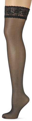 Nur Die Damen Halterlose Strümpfe 715999, Gr. 42 (38-42 = S/M), schwarz (schwarz 094)