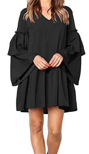 Arctic Cubic Long Sleeve Bell Sleeve Ruffled Ruffle Hem V Neck Pleated Cotton Mini Swing Trapeze Smock Dress Black M