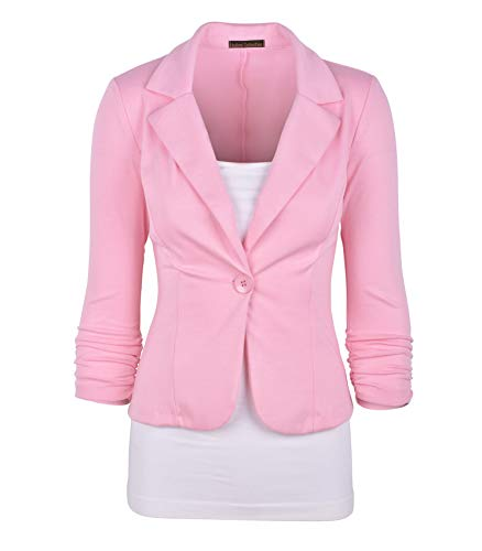Auliné Collection Women's Casual Work Solid Color Knit Blazer Dusty Pink ()