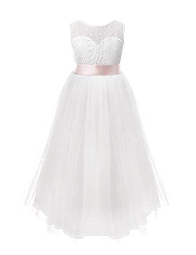 a11bf56d4f233 FEESHOW Robe de Mariage Fille Demoiselle d honneur Robe soirée Bustier  Dentelle Floral Enfant Robe de Cérémonie Tulle Jupe Longue Fille 2-12 Ans   Amazon.fr  ...