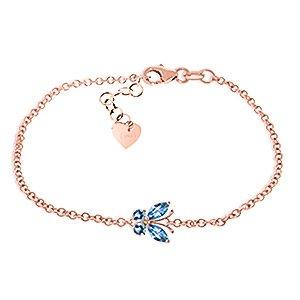 QP bijoutier topazes bleues Bracelet en or Rose 9 carats, 0.60ct coupe Marquise - 5022R