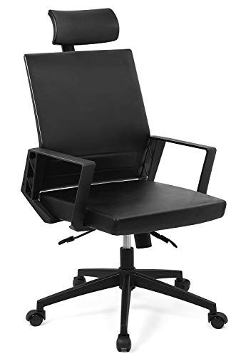 Ergonomic Office Chair High Back Leather Executive Chair Neck & Lumbar Support Swivel Desk Chair Reclining & Adjustable for Office Work, Comfortable Computer Chair Armrest & Headrest for Gaming ()