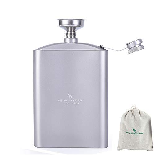 Yilan Trade Titanium Pocket Flagon Hip Flask with Funnel Outdoor Camping Travel Flat Liquor Flask Ultralight Wine Whiskey Pot 250ml/8.5oz(Flask