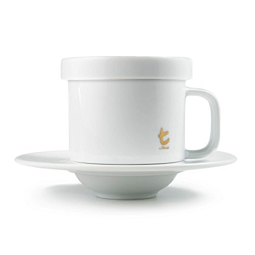 Dilmah | t-Series Mug, Saucer, and Lid | Perfect Tea Service | Fine Porcelain | Contemporary Design | 3 Piece Set | 250ml (Pack of -