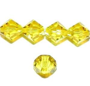 (Steven_store SCB6115 Citrine Yellow 8mm Faceted Xilion Bicone Swarovski Crystal Beads 12pc Making Beading Beaded Necklaces Yoga Bracelets)