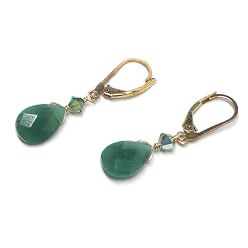 Dark Green Aventurine Briolette Gold-Filled Lever Back Earrings Swarovski Crystal Custom (Green Aventurine Briolette Earrings)